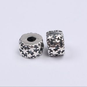 Two Authentic PANDORA Floral Sterling Silver Clips